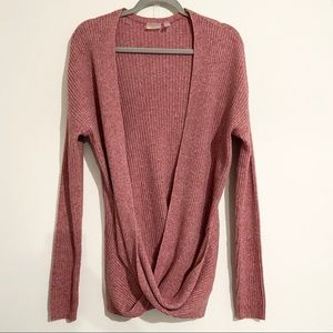 ZELLA Ribbed Crossed Front Open Sweater Size Small